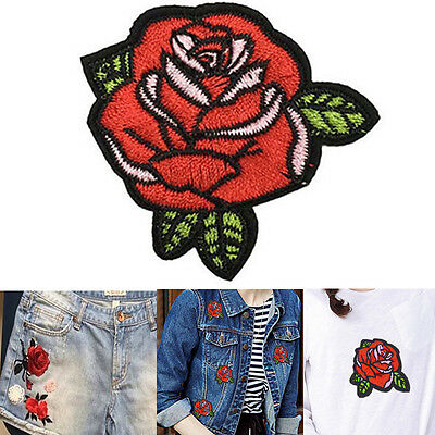2pcs Embroidery Iron Onn Patches Clothing Red Rose Flower Badge DIY Applique New