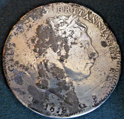1819 George III .925 Silver Crown 5 Shillings - Well Circulated / Tarnished
