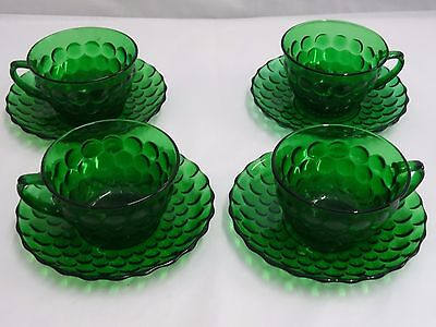 ANCHOR HOCKING CRYSTAL BUBBLE GREEN CUPS & SAUCERS  - Set of 4