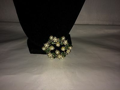 Vtg. Green Enamel Faux Pearl Rhinestone Wreath/flower Brooch