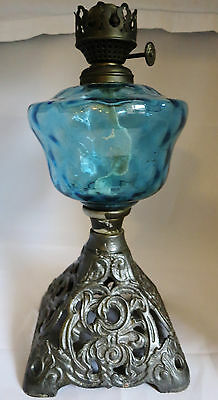 Victorian (?)  Cast Iron Oil Lamp Base & Glass Reservoir (join repair needed)