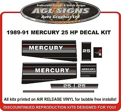 1989 1990 1991 MERCURY 25 hp Outboard Decals  reproduction  20 hp