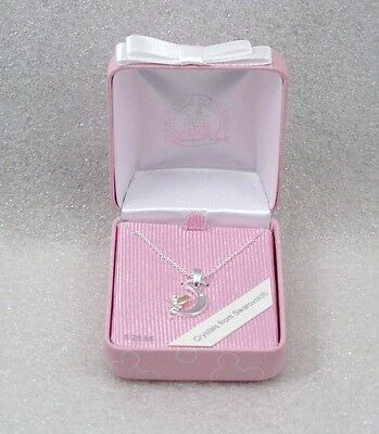 Disney Park  Necklace Pendant TINKERBELL MOON SWAROVSKI CRYSTALS  NEW Boxed