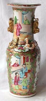 C19Th Chinese Canton Vase With Dog Of Fo Handles Decorated With Various People