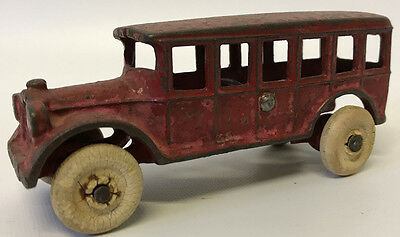 "Vintage 1920's Cast Iron 4-3/4"" Red Toy Bus"