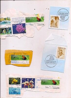 16 COSTA RICA stamps on paper.