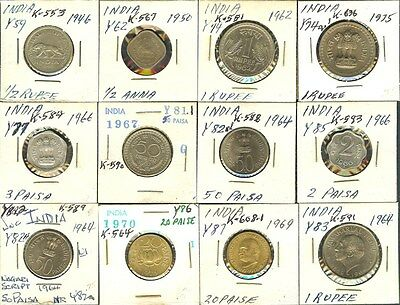 India 1946-1975 Mixed Denominations Nice 12 Coin Collection