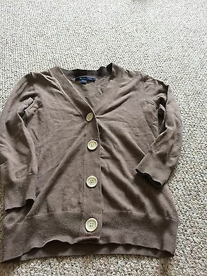Ladies Boden brown v neck cardigan 3/4 sleeves size 8