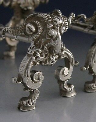 STUNNING RARE FRENCH 950 SILVER RAM CUTLERY RESTS c1900 ANTIQUE HEAVY 166g