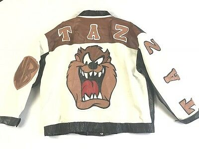 Taz Tasmanian Devil Coat Jacket 2Xl Xxl Brown Black Leather Warner Bros Vintage