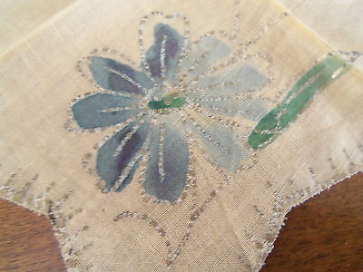 VINTAGE VICTORIAN HAND PAINTED HANDKERCHIEF Yellow Linen  BLUE FLOWER ~ RARE 7""