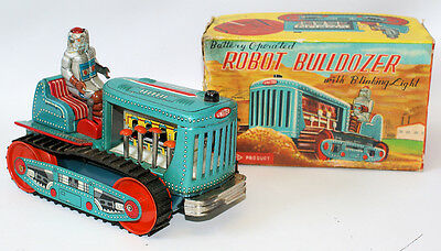ULTRA RARE Vintage Battery Operated Tin Litho #115 ROBOT BULLDOZER, Japan
