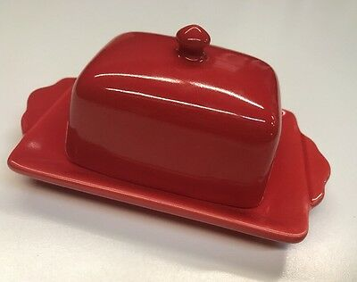 Anthropologie Covered red Butter Dish Stoneware Made By Biscuit