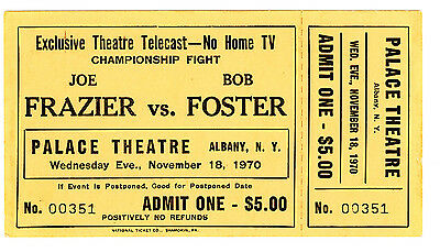 Ticket, unbenutzt, Joe Frasier vs. Bob Foster, Palace Theatre, 1970, Nov. 18.
