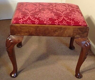 A Beautiful Antique Walnut Queen-Anne Style Stool ,circa 1930 With Free Uk P&p !