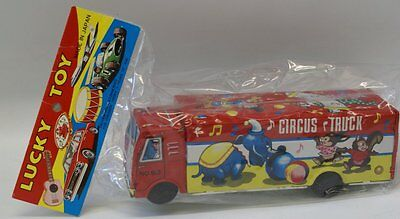 """Vintage Tin Lithographed Circus Truck """"Lucky Toy"""", new in original package"""