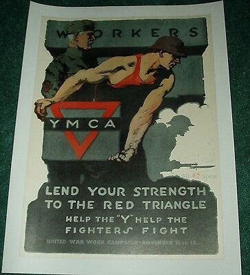 "Original U.s. Ww1 Poster ""workers Ymca"" 1917 Linenbacked Gil Spear"