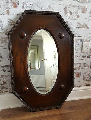 Large Antique Edwardian Art Nouveau Oval Bevelled Wall Mirror in Mahogany Frame