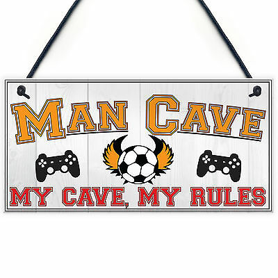 Man Cave Rules Gaming Shed Garage Funny Home Bar Hanging Plaque Gift Dad Sign