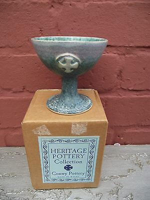 Welsh Conwy Pottery Goblet Chalice Celtic Cross Motif Heritage Collection