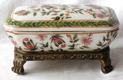Chinese Hand Painted Box And Cover On Bronze Feet Decorated With Flowers