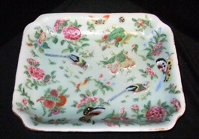 Antique Chinese Famille Rose Canton Celadon Porcelain Plate Circa 1840 Qing Dy