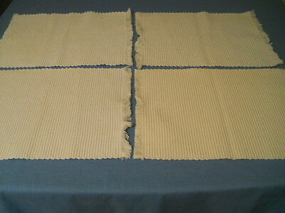 Four Loom Woven Creamy White Oblong Placemats Fringes