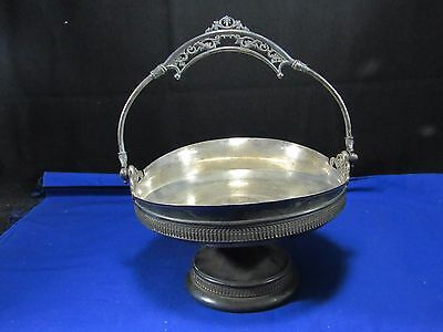 Victorian Silver Brides Basket,Handle,Rogers Bros Plated Bowl,Fist of Bolts Logo