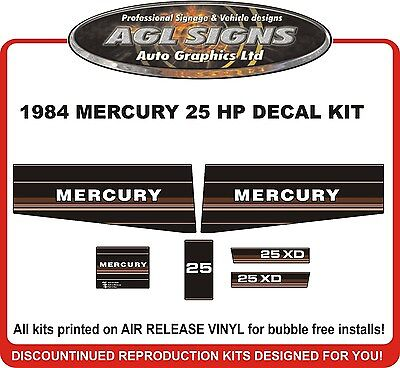 1984 1985 MERCURY 25 XD hp Outboard Decals  reproduction  18 XD hp also