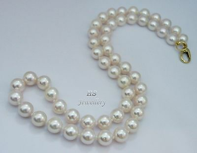 """HS Japanese Akoya Cultured Pearl 8mm Necklace 18"""" 18K Yellow Gold AAA Grading"""