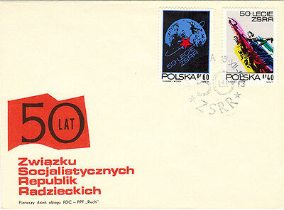 1972 Polish FDC letter cover with two stamps 50 Years to the USSR