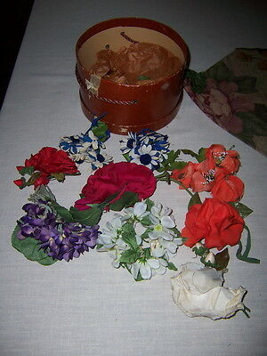 Lot of vintage Flowers for hats  Roses and  Velvet & Silk ome have pin backs