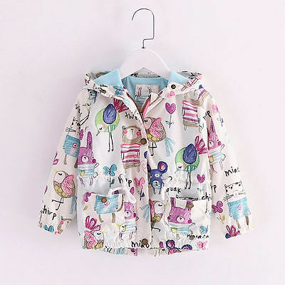 Boys Girls Long Sleeve Animals Hand Print Jacket Coat Hooded Outerwear 3-4Y ZQ03