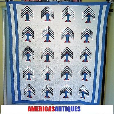 Red White Blue Patriotic Antique Tree Of Life Quilt Great Quilting Clean