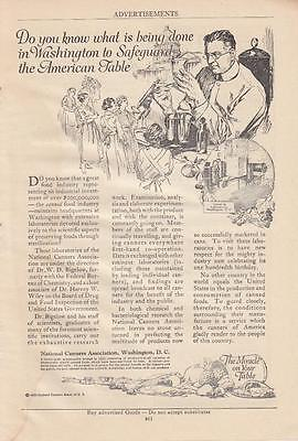 1920 National Canners Assn Washington DC Ad: Safeguarding the American Table