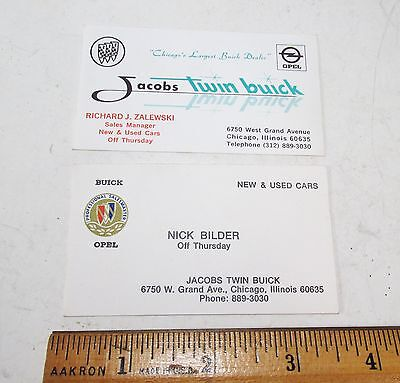 Vintage 1970s Pair Jacobs Twin Buick Chicago IL Auto Dealership Business Cards