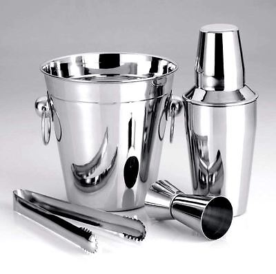 4 Pc Bar Set Shine Stainless Steel Large Ice Bucket/cocktail Shaker/ice Tong/peg