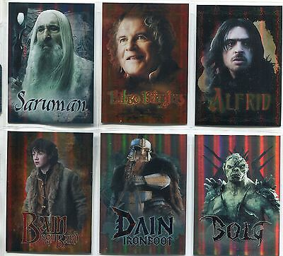Hobbit Battle Of 5 Armies Complete Character Bio Chase Card Set CB29-34