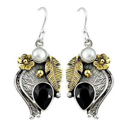 925 Sterling Silver Victorian Natural Black Onyx Two Tone Flower Earrings K45062
