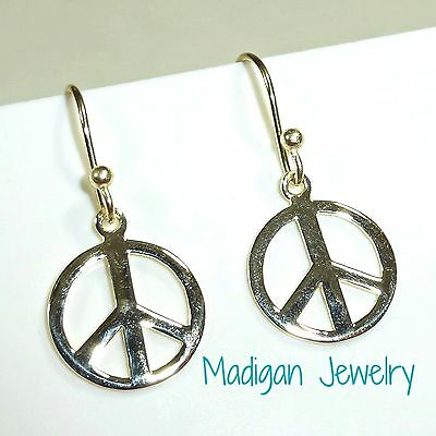 New Peace Sign Earrings14K Gold .925 Sterling Silver Hook