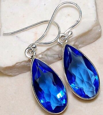 16CT Sapphire 925 Solid Sterling Silver Earrings Jewelry, I2