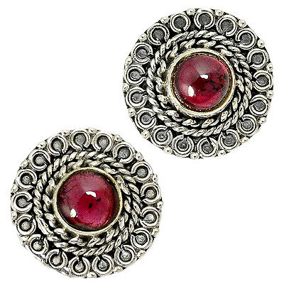 Mozambique Red Garnet Round 925 Sterling Silver Stud Earrings Jewelry J4880