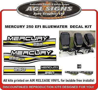 MERCURY 250 EFI  BLUEWATER DECAL SET   200 125 150  also avail.