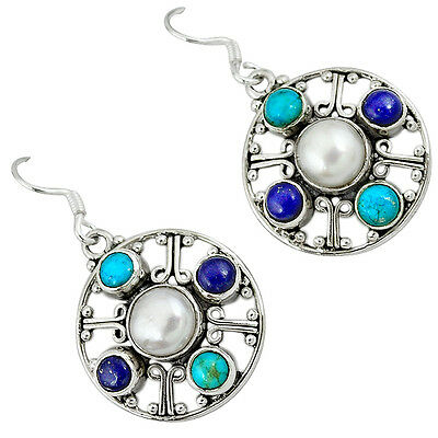 Natural White Pearl Sleeping Beauty Turquoise 925 Silver Dangle Earrings K29170