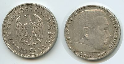 G10900 - Germany Third Reich 5 Reichsmark 1935 D KM#86 Silver Hindenburg issue