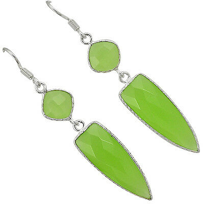 Natural Green Prehnite 925 Sterling Silver Dangle Earrings Jewelry T93488