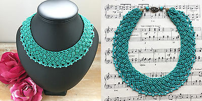 RARE Vintage 1940s Aqua Turquoise Green Basket Weave Seed Beads Collar Necklace