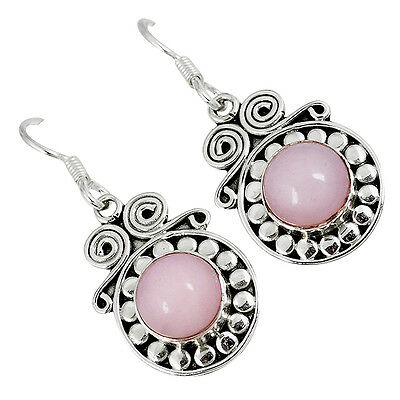 Natural Pink Opal 925 Sterling Silver Dangle Earrings Jewelry K15469