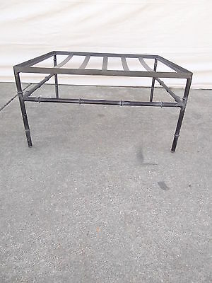 vintage metal faux bamboo foot stool Ottoman hassock regency hollywood