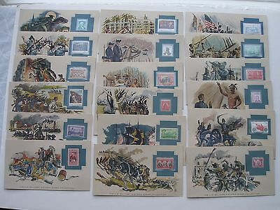 (41) U.S. Military Historic Stamp Collection Cards w/mnh stamps War Americana VG